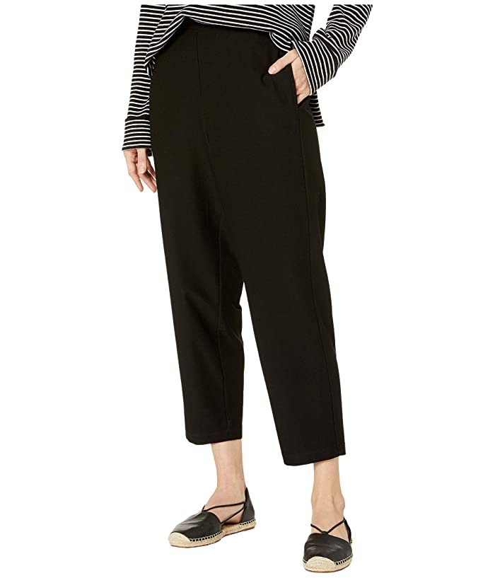 Eileen Fisher  Lightweight Washable Stretch Crepe Tapered Ankle Pants (Black) Womens Casual Pants