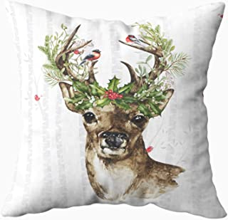 Musesh birch tree forest with a woodland christmas deer Cushions Case Throw Pillow Cover For Sofa Home Decorative Pillowslip Gift Ideas Household Pillowcase Zippered Pillow Covers 20x20Inch