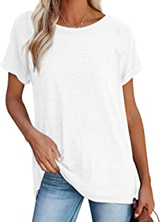 Women Tunic Top for Women to Wear with Leggings Rolled Sleeve Crewneck Shirts for Women Loose Fit