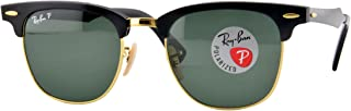 Ray-Ban RB3507 Clubmaster Aluminum Square Sunglasses, Black & Gold/Polarized Green, 51 mm
