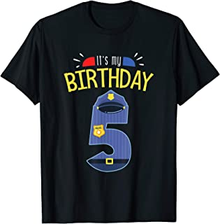 5th Birthday 5 Year Old Boys Police Officer Uniform T-shirt