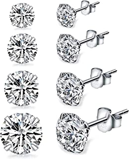 Sterling Silver Studs Earrings, 3-6 Pairs, Round Clear Cubic Zirconia Stud Earrings for Sensitive Ears priercing …
