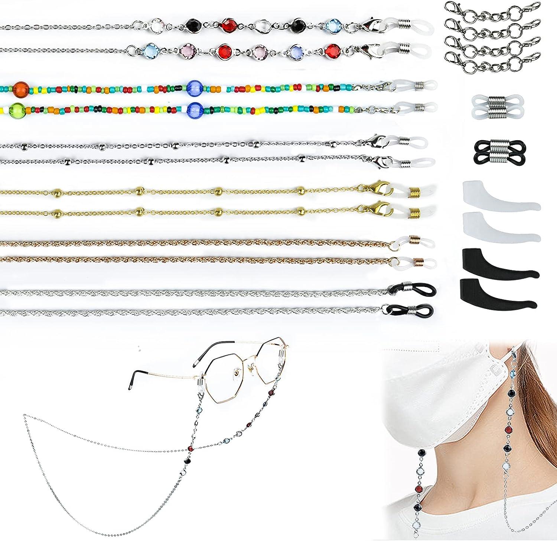 PJLJY 6 Pcs Mask Holder Chain Lanyard Necklace Chains Eyewear Glasses Beaded Eyeglass Mask Leash for Women Girls Kids Gift