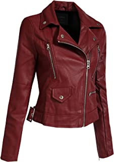 J. LOVNY Women's Fitted Faux Leather Zip Up Long Sleeves Rider Jacket with Adjustable Belt