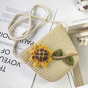 Xinleijd Brilliant Kids Baby Girl Boho Shoulder Handbag Crossbody Bag Straw Beach Satchel Purse Bag None
