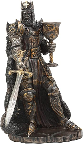 Ebros Legendary King Arthur Pendragon Wielding The Excalibur Sword Statue 10 Tall Matter Of Britain Knights Of The Round Table Kingship Figurine Bronze Patina