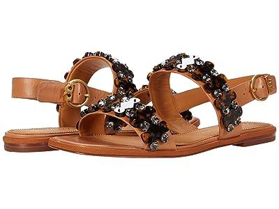 Tory Burch 5 mm Delaney Embellished Sandal (Tan) Women