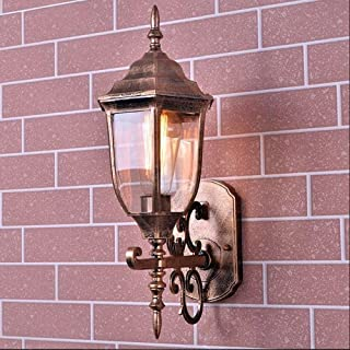 Belief Rebirth Continental Patio Victoria Glass Outdoor Wall Lantern - Modern Antique Brass Outdoor Wall Mount Light - Garden Villa Lighting Fixtures - Aluminum Alloy Glass Exterior Landscape Lamp