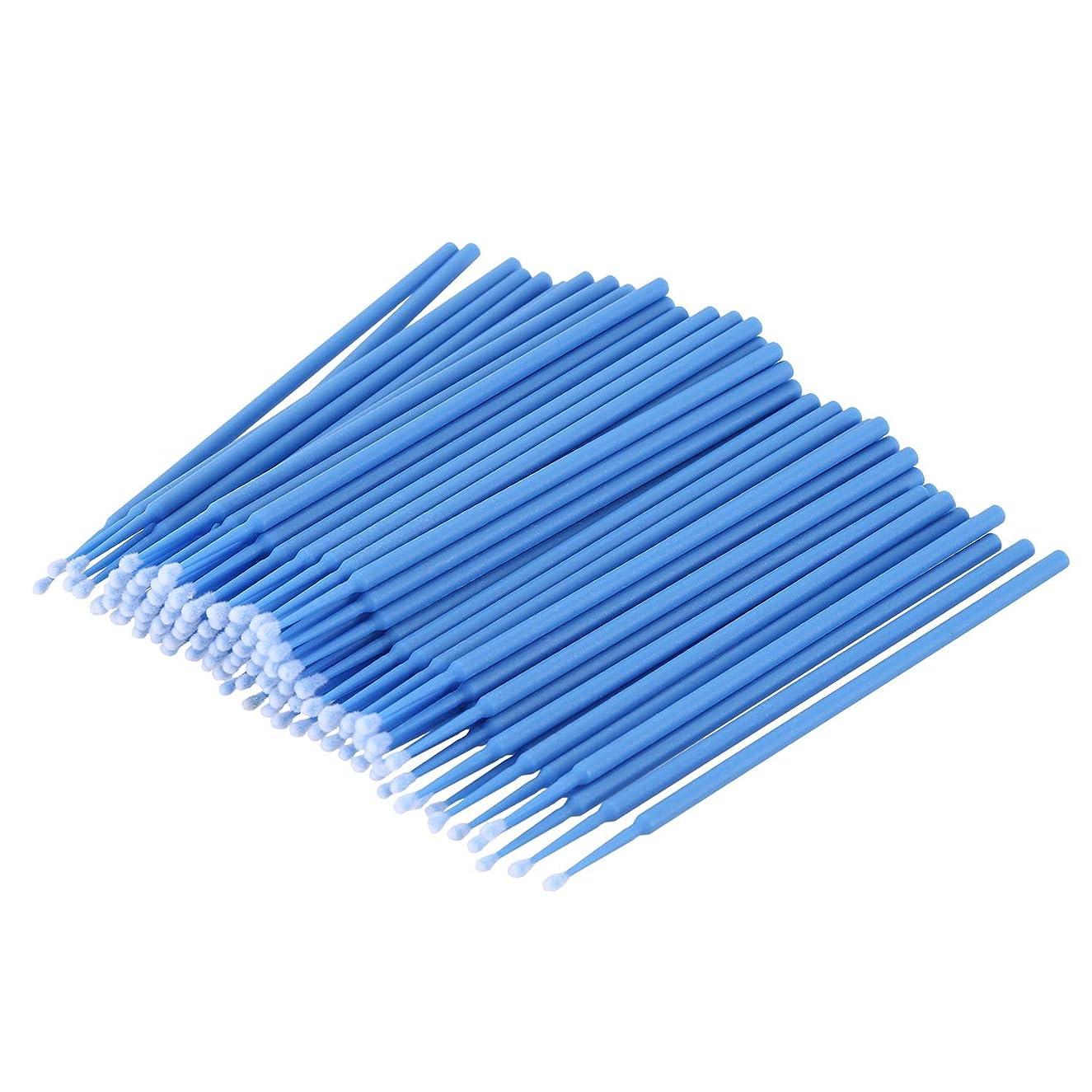 バッテリーガジュマル検出Cikuso 100個 歯科用マイクロブラシ 使い捨て材料 歯用アプリケーター ミディアムファイン(ダークブルー)
