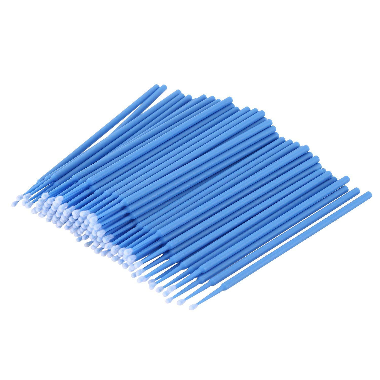 Cikuso 100個 歯科用マイクロブラシ 使い捨て材料 歯用アプリケーター ミディアムファイン(ダークブルー)