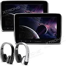 XTRONS 2X 10.1 Inch Twins HD Digital Screen Car Auto Headrest DVD Player New Version Fashion Headphones Included (Black&White)