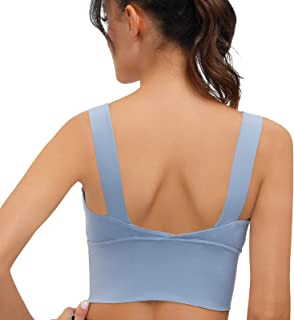 Longline Sports Bras for Women, V-Neck High Support Built-in Bras for Yaga Crop Workout Tank Tops with Removable Pads