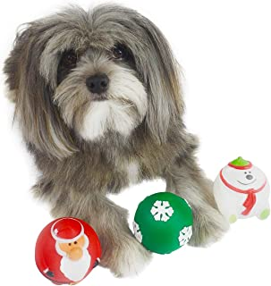 Holiday Dog Squeaky Ball Toy [3-Pack]   Red Santa Claus, White Polar Bear & Green Snowflake Ball Set   Great Dog Fetch Toys &Stress Relief Or Anti-Fidgeting Balls