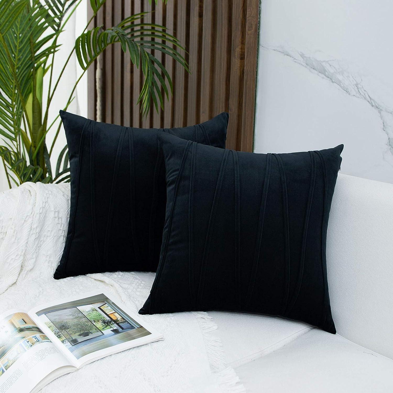 JUSPURBET Decorative Velvet Throw Pillow Covers with Velvet Stri