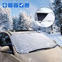 opamoo Car Windshield Snow Cover Sun Shade Protector for All Weather - Snow Ice Frost Sun and Wind Car Snow Cover with Cotton Thicker Snow Protection Cover Fits Most Cars