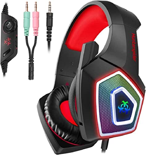 Hunterspider Gaming Headset for PS4,Surround Sound Noise Cancelling Gaming Headset with Microphone&LED Light,Gaming H...