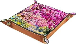 Vockgeng Aquarelle Fleur de Cerisier Boîte de Rangement Panier Organisateur de Bureau Plateau décoratif approprié pour Bur...