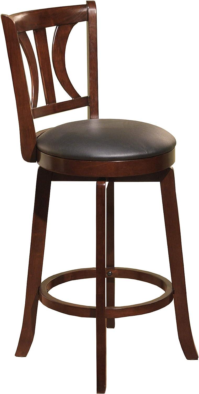 Target Marketing Systems 24-Inch Houston Upholstered Swivel Bar Stool, Mahogany