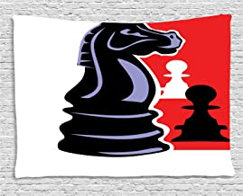 Ambesonne Board Game Tapestry, Chess Themed Pieces Design Pawn Silhouette and Knight, Wide Wall Hanging for Bedroom Living Room Dorm, 80