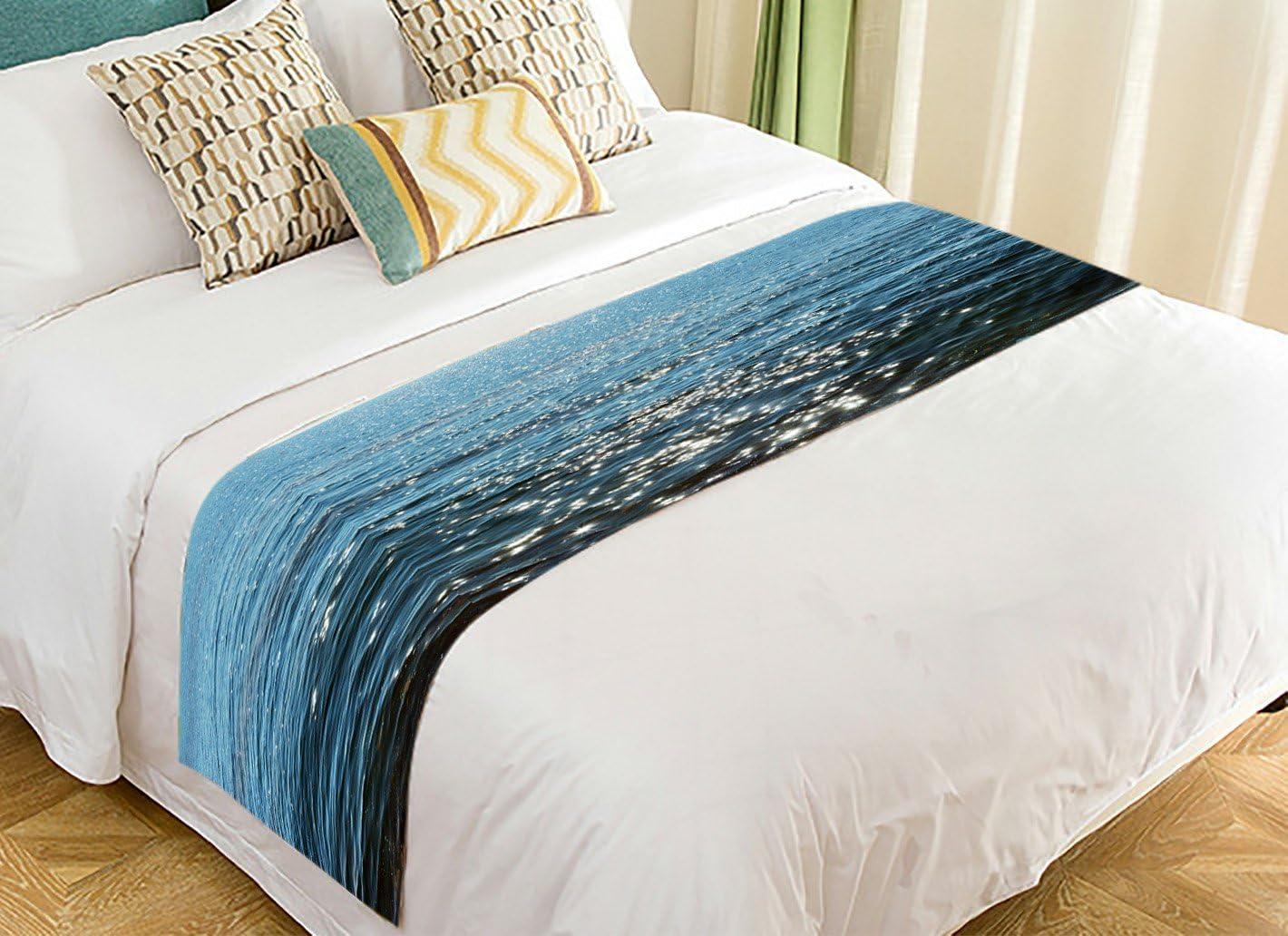Finally popular brand PicaqiuXzzz Custom Beach Theme Max 83% OFF Bed Runner Sea Ocean Blue W Deep