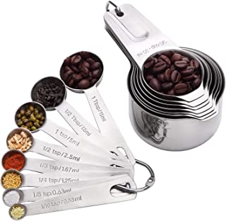 Stainless Steel Metal Measuring Spoons and Cups,Sets of 15 in 18/8 Stainless Steel : 7 Measuring Cups and 8 Measuring Spoons with 2 D-Rings7 Cups and 8 Spoons with 2 D-Rings