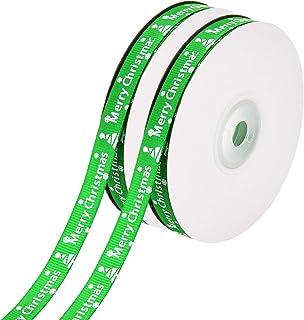 2 rollos de cinta de Navidad de 44 metros totalmente impreso con lazos de Navidad para regalo, cinta para manualidades de fiesta, 10 mm de ancho verde
