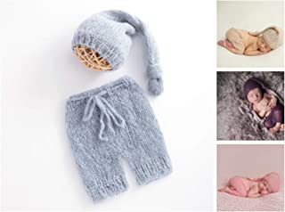 ARLAYO Newborn Photography Props Girls Handmade Mohair Hat and Pants Baby Outfits (Gray)