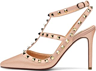 Women's Studded High Heels 4 Inch Stiletto Heel Gold Stud Heeled Sandals Pointed Toe Strappy Buckle Studs Leather Dress Pumps Size 5-14 US