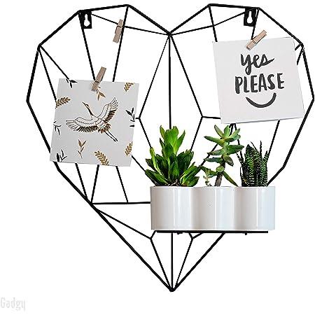 Gadgy Rejilla Decorativa en Forma de Corazón   Marco Fotos Pared de Metal con Accesorios   Marcos de Fotos para Pared   Decoración Hogar Estilo Nórdico
