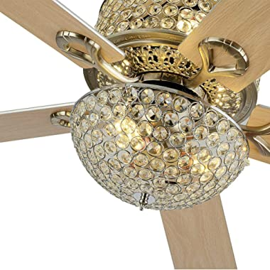 Chandelier Crystal Ceiling Fan Light with Remote Control, 2-Layer 52-Inch 5 Wood Blade Leaves Adjustable Light and Speed Fand