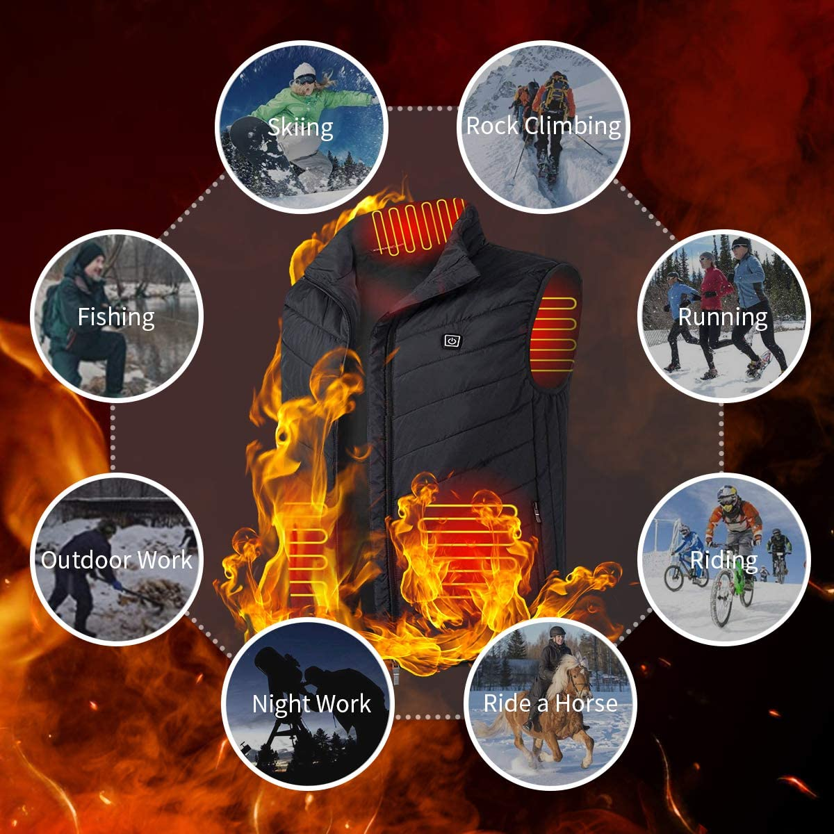 Heated Body Warmer Heated Vests USB Electric Body Warmer Heated Vest Heating Vest with 3 Temperature Settings Heated Clothes Lightweight Design Heated Gilet Unisex Warming Heated Vest Washable