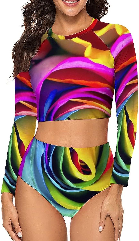Tvsuh-u Women's Bathing Suit 2 PCS Multicolor Rose Long Sleeve Rash Guard Swimsuits Crew Neck Swimming Suit