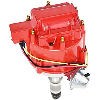 Proform 66940RC Vacuum Advance HEI Distributor with Steel Gear and Red Cap for Chevy V8