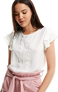 Women's Summer Ruffle Short Sleeve Lace Chiffon Blouse Workwear Top Shirts