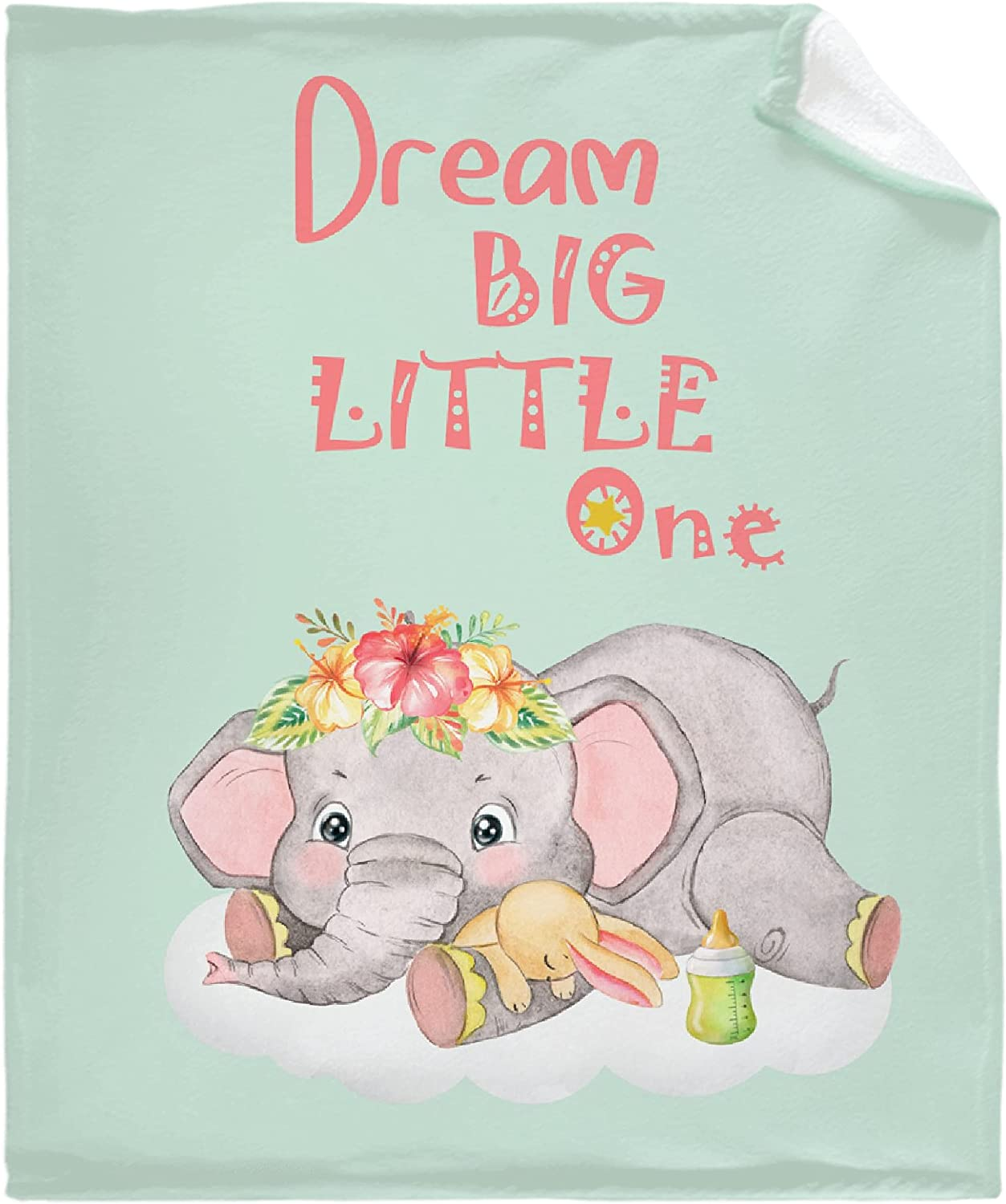 Muilti-Style Dream Big Little One Outlet SALE Blanket Elephants Throw Green Challenge the lowest price of Japan