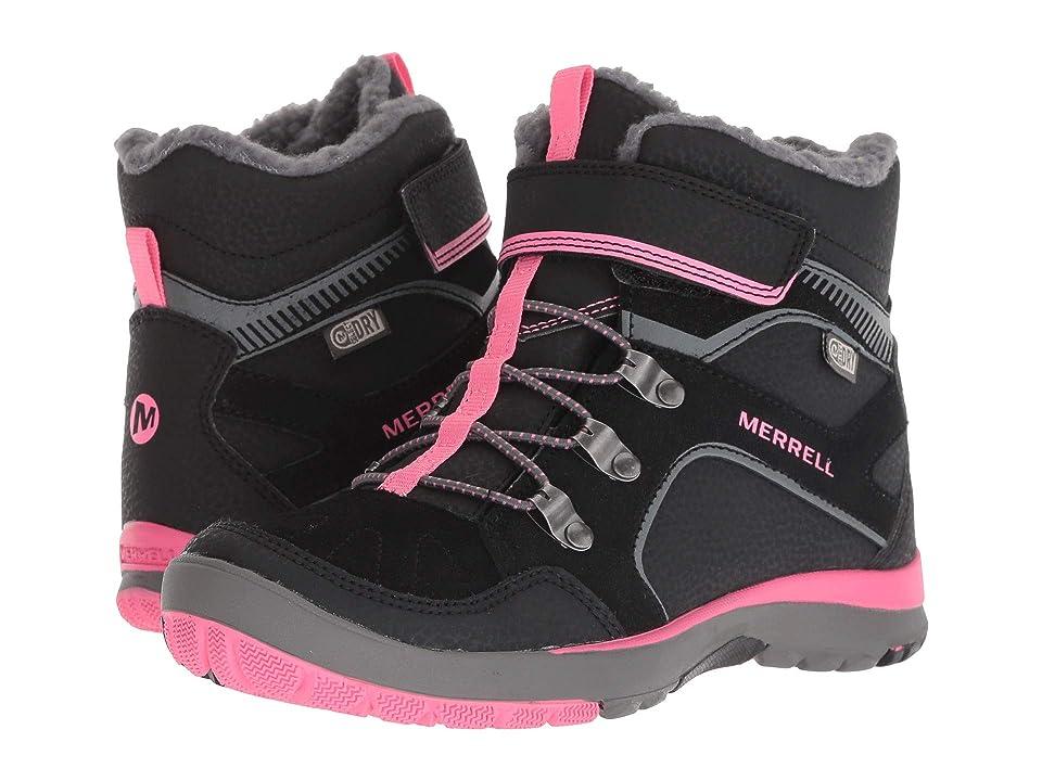 Merrell Kids Moab FST Polar Mid A/C Waterproof (Little Kid) (Black/Pink) Girls Shoes