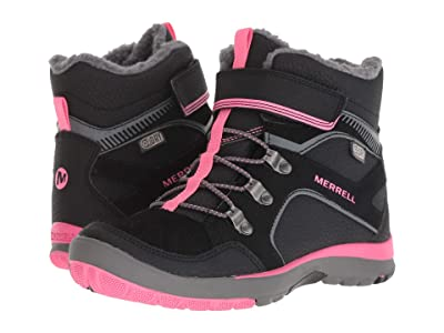 Merrell Kids Moab FST Polar Mid A/C Waterproof (Little Kid) (Black/Pink) Girls Shoes
