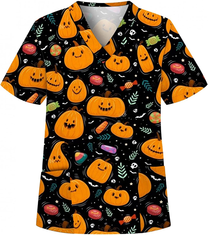 MASZONE Scrub_Top for Womens Halloween Pumpkin Ghost Work Uniform V-Neck Nurses_Tunic Shirts Short Sleeve Workwear Tops
