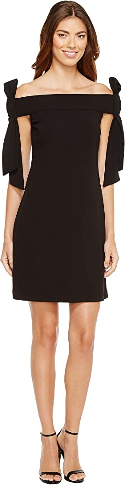 Donna Morgan Sleeveless Crepe Dress with Bow Details at Shoulder