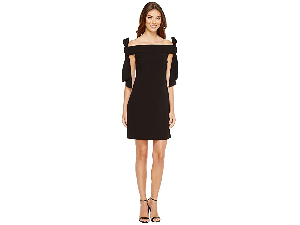 Donna Morgan Sleeveless Crepe Dress with Bow Details at Shoulder (Black) Women