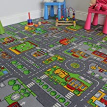 "The Rug House Children's Play Village Mat Town City Roads Rug, 200cmx200cm(6ft7""x6ft7"")"