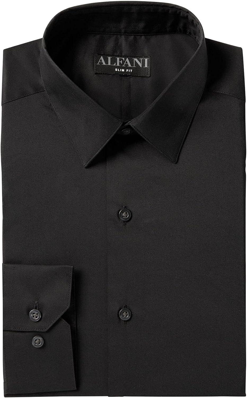Alfani Mens Black Collared Slim Fit Dress Shirt L 16