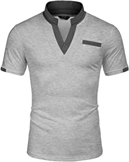Men's Casual Polo Shirts with Pocktes Regular Fit Contrast Color Collar Sport Polo T-Shirts