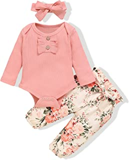 Newborn Infant Baby Girl Clothes Romper Onesie Pants Set...
