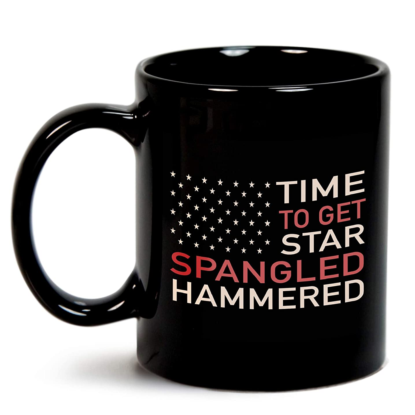 Time To Get Star Spangled Hammered 11 Oz Black Coffee Mugs