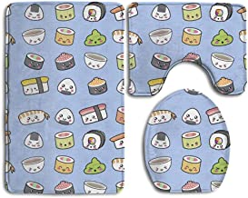 Happy Kawaii Sushi Bathroom Rug Mats Set 3 Piece -Soft Shower Bath Rugs Contour Mat and Lid Cover Perfect Combination of L...