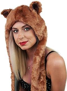 cbb642e8e8a Festival Gear Spirit Animal Hood Fur Hat Scarf Mittens Rave Wear