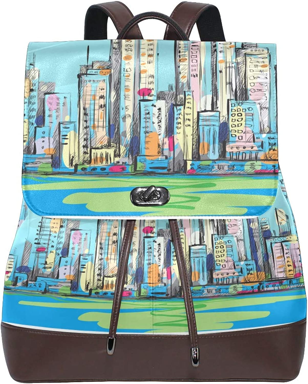 DEZIRO Leather Specific City Painting School Pack Backpacks Travel Bag