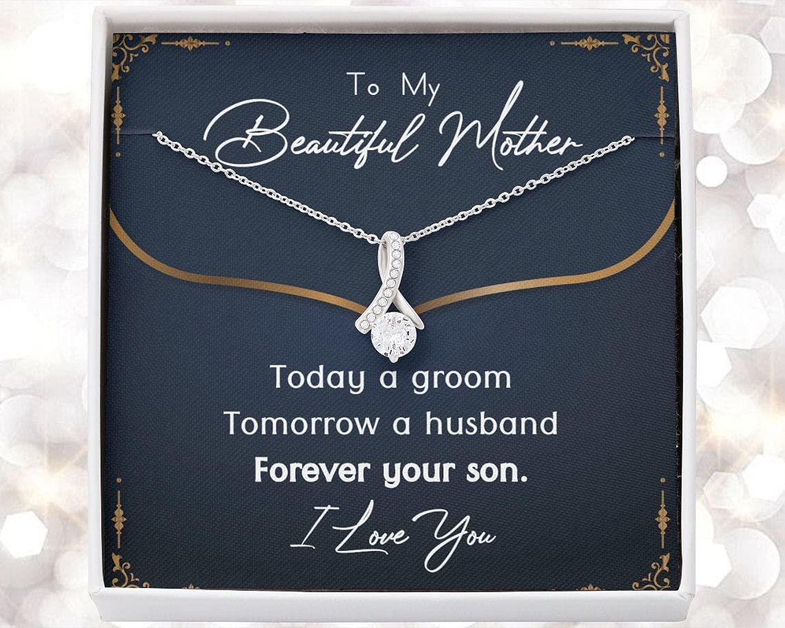Personalized Necklace Gift - Forever Love Necklace, Groom to Mother Gift, Son to Mother on Wedding Day Necklace, Mother of the Groom Gift from Son, Mom Wedding Gift from Son, Son to Mom Gift