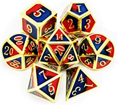 Haxtec Metal DND Dice Gold D&D Dice Set of D4 D6 D8 D10 D% D12 D20 for Dungeons and Dragons RPG Games-Gold Blue Red Dice